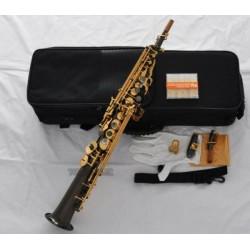 Black Nickel Gold Straight Soprano sax High F# G Keys New Saxophone 2 Necks