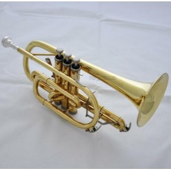 Professional Gold Lacquer Cornet horn Bb Double triggers Trumpet With Case