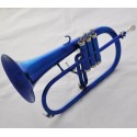 Professional Blue Lacquer Flugelhorn Bb Flugel Beautiful horn Monel Valve With Case