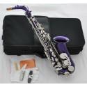 Royal Purple Silver Alto Saxophone Eb Sax Saxofon High F# with Case