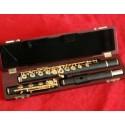 Pro-Grade Ebony Wooden Flute B foot Gold Plated Key 17 Hole Wood Case