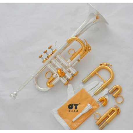 Professional Silver/Gold Plated Eb/D Trumpet 3 Monel Valves with Case, 2 Mouthpieces