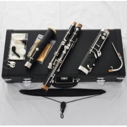 TOP Black Bakelite Mini Bassoon cupronickel bocals Silver Eb key Leather Case
