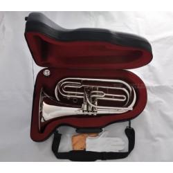 Professional Marching Baritone Silver Nickel Bb Tuba Horn Case