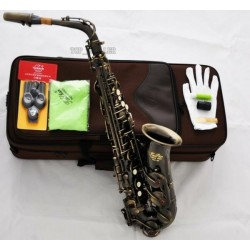 Professional Antique Bronze Superbrass Alto Saxophone Sax High F# Saxofon With Case