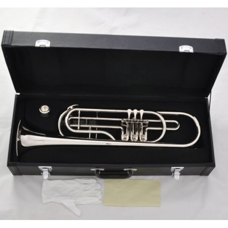 Professional Rotary Valves Bass Trumpet Bb Silver nickel horn Leather case