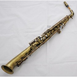 Professional Eb Straight Alto Saxophone Antique Brass Saxello Sax Leather Case