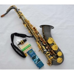 Black Nickel Gold Professional Tenor Saxophone High F# Sax with Case, 10X Reeds