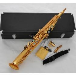 Pro Gold Mercury Soprano Saxello saxophone High F#, G Sax, Curved Bell, ABALONE Keys