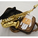 Professional Brushed Brass Bb soprano saxophone curved sax with case