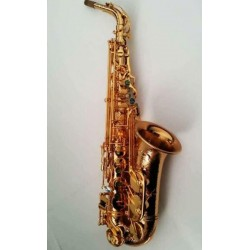 Professional Hand Hammered Gold Plated Alto Saxophone Reversed Neck Great Sound