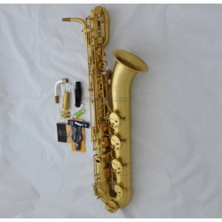 Professional Superbrass Eb Yellow Antique Baritone Saxophone Low A key 2 Neck +Case