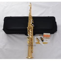 Professional Gold Neck Built-in Soprano Saxophone sax High F# + Metal Mouthpiece