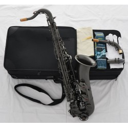 Professional Satin Black Nickel C Melody Saxophone Sax High F? 2 Neck With Case