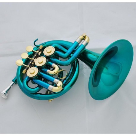 Beautiful Green Piccolo Mini French Horn Bb 3-Key Brand new With Case Mouthpiece