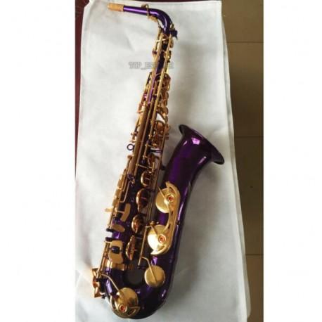 Professional Purple Gold C Melody Sax Saxophone High F# +2 Necks + Case