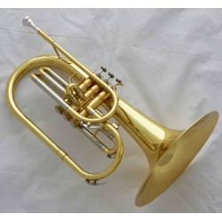 Professional Superbrass Gold Lacquer Mellophone F Key horn Monel Valves with case