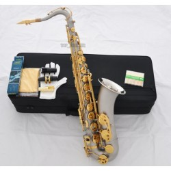 Classic Satin Nickel Tenor Saxophone High F# Abalone Key sax + Metal Mouthpiece