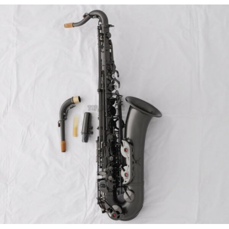 Professional Satin Black Nickel C Melody Saxophone High F# sax 2 Necks With Case
