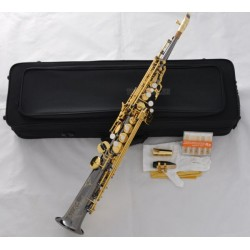 Pro. Neck Built-in Soprano Saxophone Black Nickel Sax Engraved bell Metal Mouth