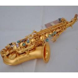 Professional Satin Gold Curved Soprano Saxophone High F# Sax Abalone Key W/Case