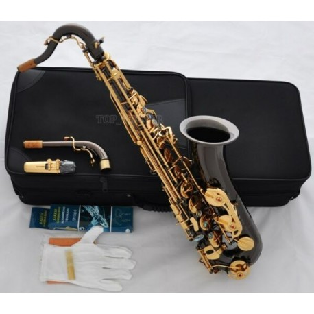 Professional Black Nickel C Melody Sax Saxophone With ABALONE Key High F#, 2-Necks