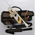 """Professional Brushed silver gold Trumpet Heavy B-Flat horn Monel 0.459"""" Bore"""