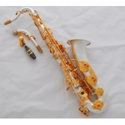 Professional Satin Silver Plated C Melody Sax Saxophone Abalone Key 2 Neck