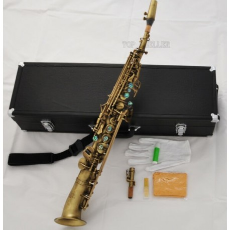 Professional Antique Soprano saxophone High F# G Abalone Curved bell Saxello sax