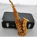 Electrophoresi Gold Curved Soprano Saxophone Engraving Bell Bb Sax Leather Case