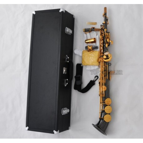 Pro Soprano saxophone Saxello Sax Black Nickel Gold Bb High F# G Key Curved bell