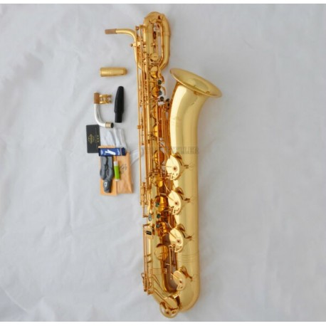 Professional Gold Superbrass Eb Baritone Sax Low A Saxophone ABALONE Key 2 Necks