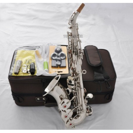 Superbrass Silver Curved Soprano Saxophone High F# Key Sax Italian pads
