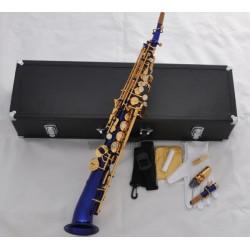 Blue Soprano Saxello Bb saxophone Mercury Sax High F#, G with Leather Case