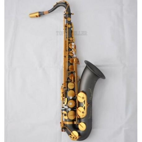 Professional Matt Black nickel Tenor Saxophone Bb Sax Engraving Bell With Case