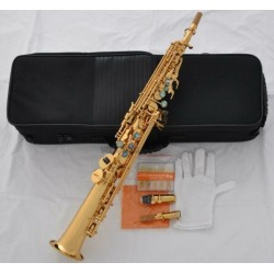 Superbrass Straight Soprano Saxophone High F# G Sax With ABALONE Key 2-Neck 10 Reeds
