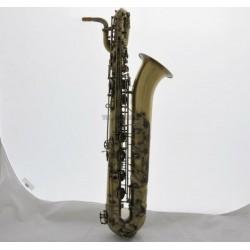 Professional Antique Baritone Bari Saxophone Low A High F# Sax 2 Necks With Case