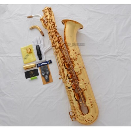 Professional Superbrass Gold Baritone Saxophone Eb Sax Low A 2 Necks With Case