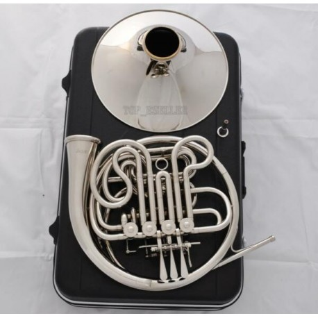 Professional Silver Nickel Plated Double French Horn F/Bb Key With Case