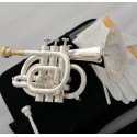 Professional Silver plated Pocket Trumpet Key of C Monel Valves 2 Mouth Case