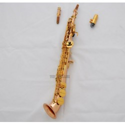 Professionalessiona Rose Brass Soprano Saxello sax High F# G Keys saxophone Leather Case