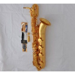 Professional Gold Baritone Saxophone Low A Key Sax High F# with Leather Case