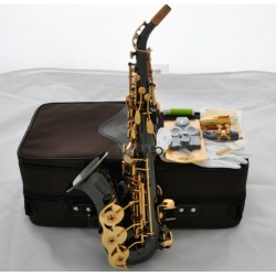 Professional Superbrass Black Nickel Curved Soprano Saxophone Gold Key High F# Sax