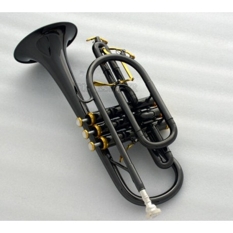 Professional Black nickel Cornet horn Bb Double triggers Trumpet With Case