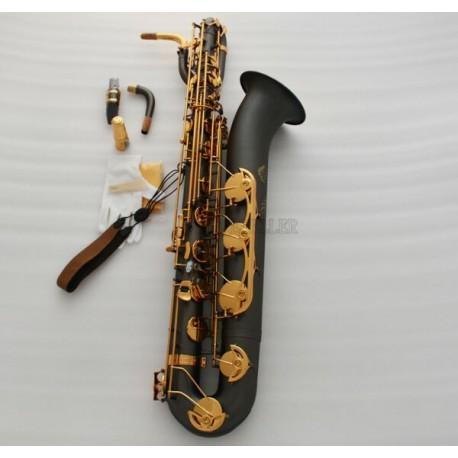 Professional Matt black nickel Baritone Eb Saxophone Gold Bell sax W/Case