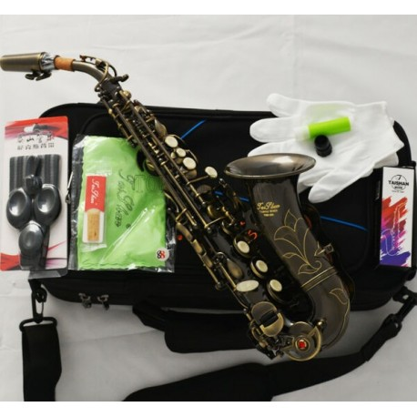 Superbrass Bb Curved Soprano Saxophone High F# Antique Bronze Finish