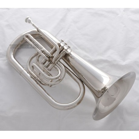 Superbrass Bb Marching Euphonium Horn Silver Nickel Finish With Case