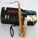 Professional Silver nickel C Melody Saxophone Abaone 2-Neck With Sax Metal Mouth