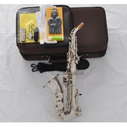 Professional Superbrass Silver Curved Soprano Saxophone Sax High F# with Case