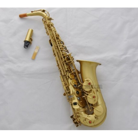 Professional Yellow Antique Eb Alto Saxophone High F# Auxiliary Sound Hole Sax with Case